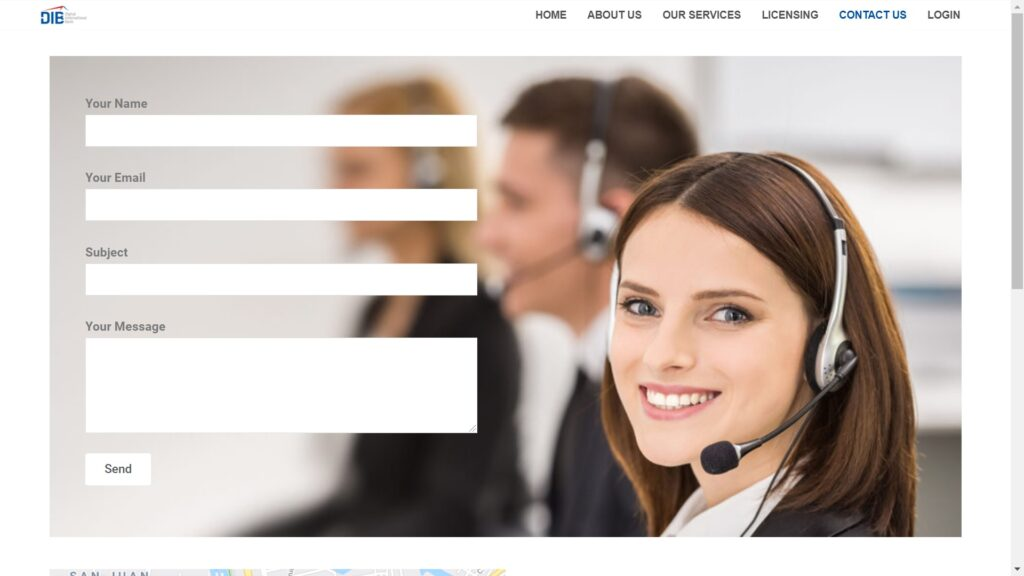 Digital International Bank contact page